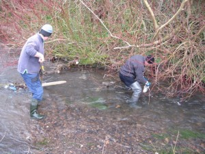 Removing rubbish from the burn